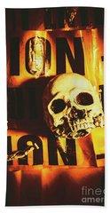 Horror Skulls And Warning Tape Beach Towel
