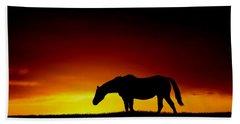 Horse At Sunset Beach Towel
