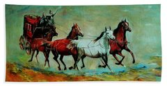 Horse Chariot Beach Towel by Khalid Saeed