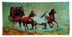 Horse Chariot Beach Sheet by Khalid Saeed