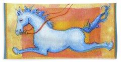 Horse Detail From H Medieval Alphabet Print Beach Towel