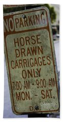 Horse Drawn Carriage Parking Beach Towel