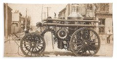 Horse Drawn Fire Engine 1910 Beach Sheet by Virginia Coyle