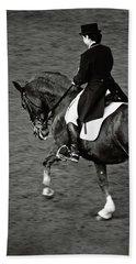 Horse Dressage - Black And White Beach Sheet