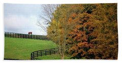 Horse Farm Country In The Fall Beach Towel by Sumoflam Photography
