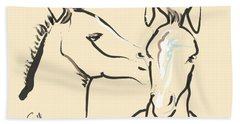 Horse-foals-together 6 Beach Towel