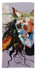 Beach Towel featuring the painting Puzzle Horse Head  by Rosario Piazza