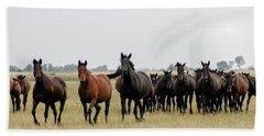 Horse Herd On The Hungarian Puszta Beach Sheet