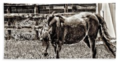 Horse In Black And White Beach Sheet by Annie Zeno