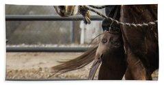 Horse In Hackamore Beach Towel