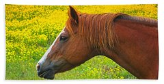 Horse In Yellow Field Beach Towel by Wendy McKennon