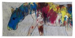 Horse Of A Different Color Beach Sheet by Thomasina Durkay