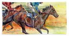 Horse Races Beach Towel