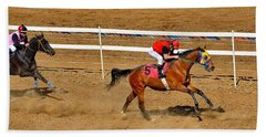 Horse Racing Beach Towel