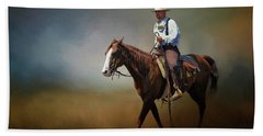 Beach Towel featuring the photograph Horse Ride At The End Of Day by David and Carol Kelly