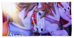 Horse Ride In Shaft Of Light Beach Towel