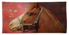 Horse Texture Portrait Beach Towel