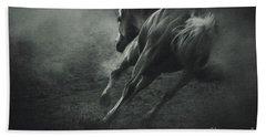 Horse Trotting In Morning Fog Beach Sheet