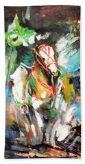 Horse,horseman And The Target Beach Towel by Khalid Saeed