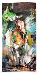 Horse,horseman And The Target Beach Sheet by Khalid Saeed