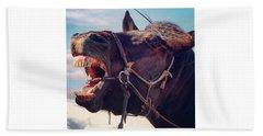 Horse Bare Teeth Beach Towel by Ippei Uchida