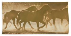 Beach Sheet featuring the photograph Horses And Dust by Ana V Ramirez