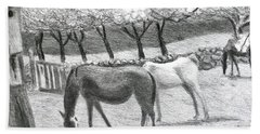 Horses And Trees In Bloom Beach Towel