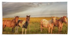 Beach Towel featuring the photograph Horses At Kalae by Susan Rissi Tregoning