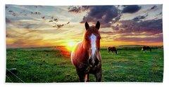 Horses At Sunset Beach Towel