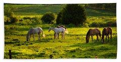 Horses Grazing In Evening Light Beach Towel