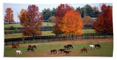 Horses Grazing In The Fall Beach Sheet