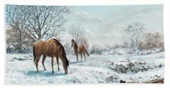 Horses In Countryside Snow Beach Sheet by Martin Davey