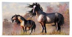 Horses In Fall Beach Towel by Daniel Eskridge