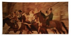 Horses In Motion  Beach Towel