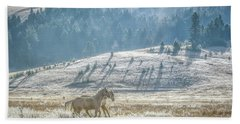 Horses In The Frost Beach Sheet by Keith Boone
