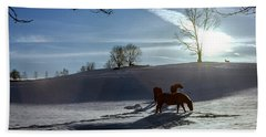 Horses In The Snow Beach Towel