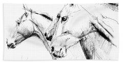 Horses - Ink Drawing Beach Towel