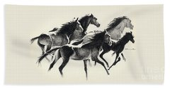 Horses Mug Beach Towel