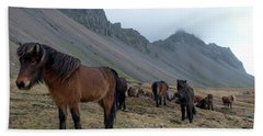 Beach Towel featuring the photograph Horses Near Vestrahorn Mountain, Iceland by Dubi Roman