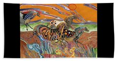 Horses Of The Ardeche Valley France Beach Towel by Bob Coonts