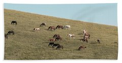 Beach Towel featuring the photograph Horses On The Hill by D K Wall