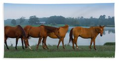 Horses On The Walk Beach Towel