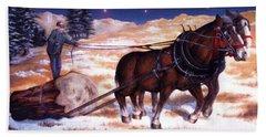 Horses Pulling Log Beach Sheet
