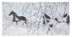 Horses Running In Ice And Snow Beach Towel