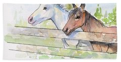 Horses Watercolor Sketch Beach Towel