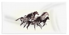 Horses4 Mug Beach Towel