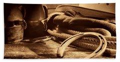 Horseshoe And Cowboy Gear Beach Towel