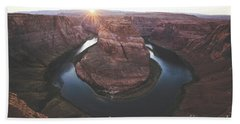 Horseshoe Bend Sunset Beach Towel by JR Photography