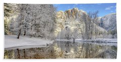 Horsetail Fall Reflections Winter Yosemite National Park Beach Towel