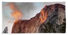 Horsetail Falls Cloudy Sunset Beach Towel